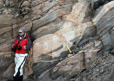 Tanya with multiply-formed gneisses in Miller Range.