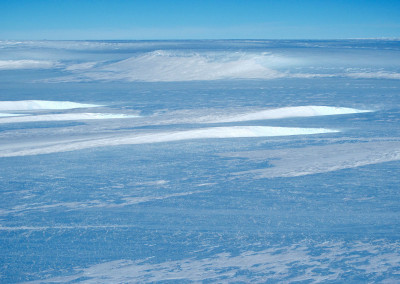 Blue ice field at the edge of the polar ice cap.