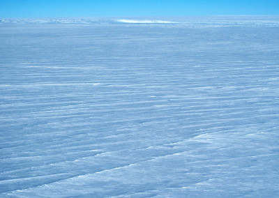 Crevasse field at the edge of the polar ice cap.