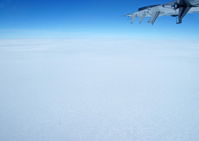 Looking over the polar ice cap from above.