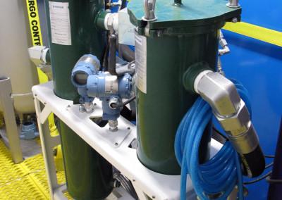 Dual filter-bag units for fluid circulation.