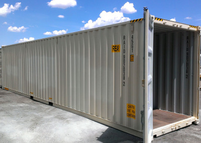 A one-trip shipping container used for a RAID module.