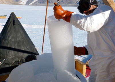 Extracting ice cores at Taylor Glacier.