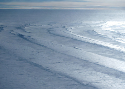 Large crevasses on the East Antarctic ice sheet.