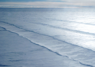 Crevasses between South Pole and the Transantarctic Mountains.