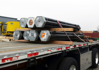 Bundles of drill pipe for an Antarctic field trial.