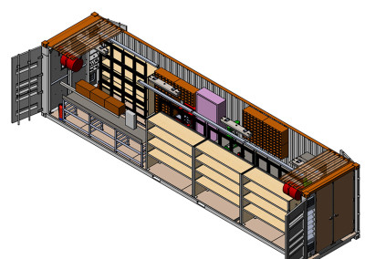 Perspective cut-away of the shop module.